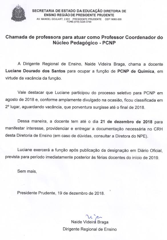 732d02f9aa1 Chamada de professora para atuar como Professor Coordenador do Núcleo  Pedagógico - PCNP de Química