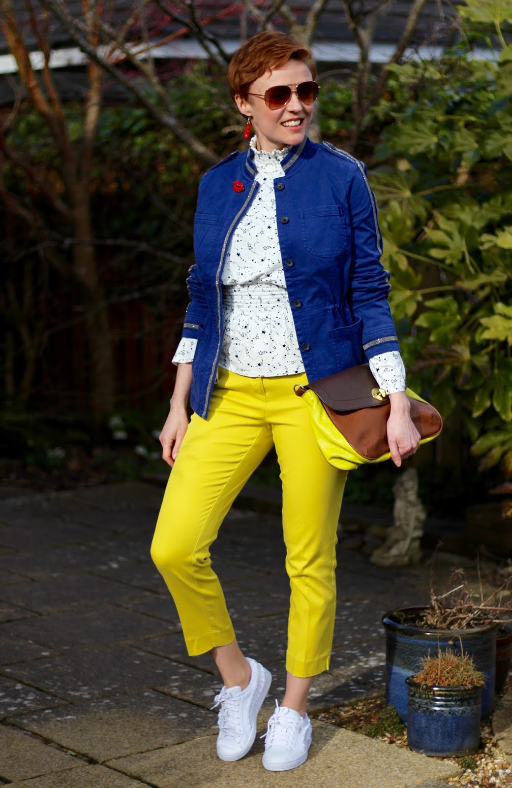 Yellow Trousers and a Blue Band Jacket | Over 40 Fashion | Fake Fabulous