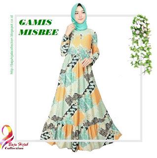 Gamis Misbee Jumbo Batik Green Yellow