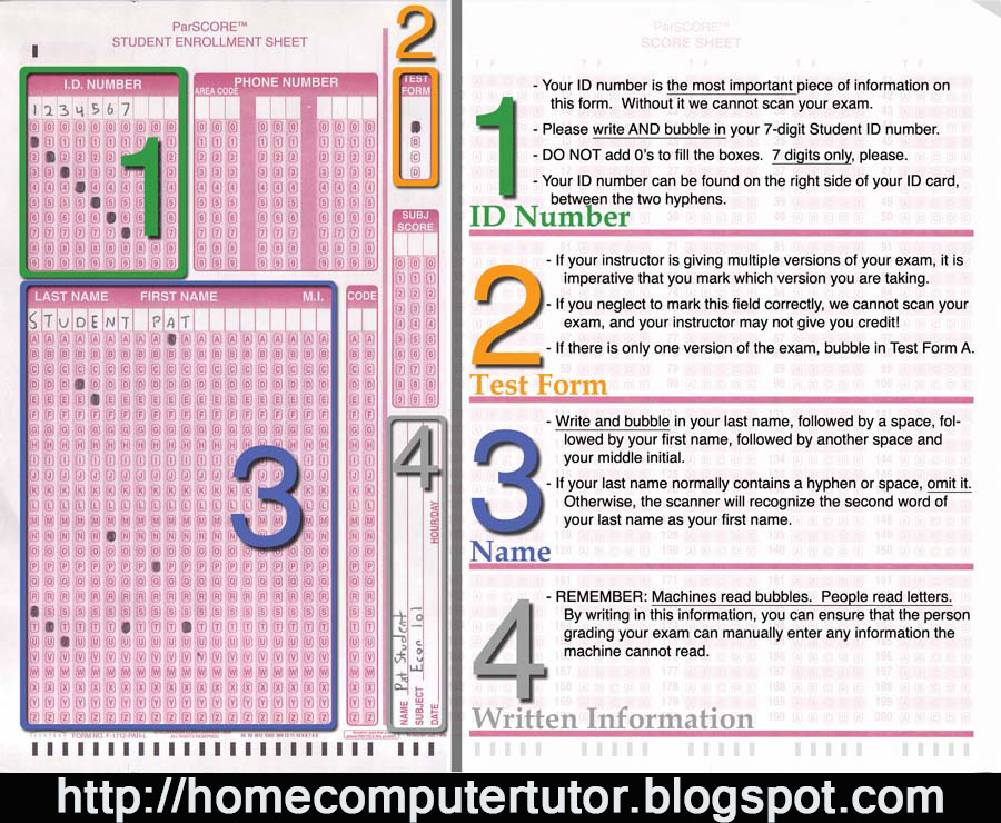 picture regarding Printable Scantron named household computer system tutor