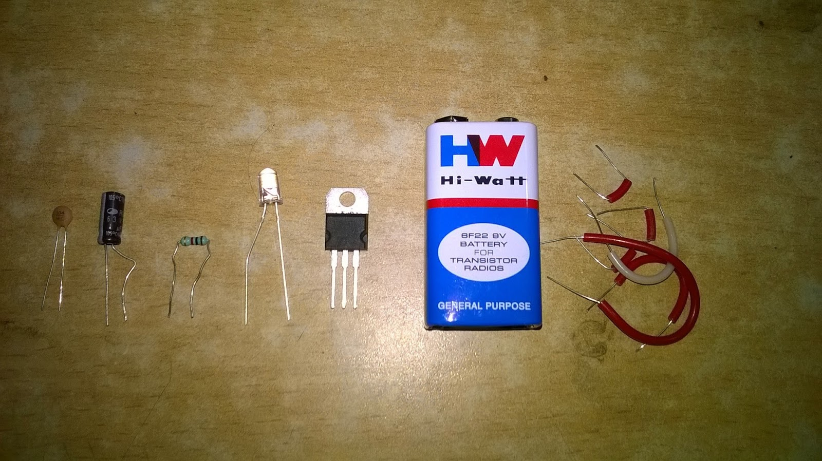 Basic Electonics Volt Regulator Circuit Using 7805 Ic Voltage Lm7805 Components Used A Capacitors 01uf 1uf B Resistors 1k C Led 5mm D Lm E 9v Power Supply F Connecting Wires