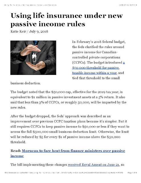 Using life insurance under new passive income rules - by Advisor.ca