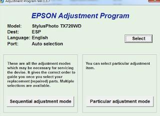 Adjustment program for Printer Epson Stylus Photo TX720WD.