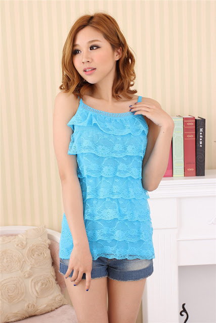 Model Tank Top Berenda Import Korea Warna Biru