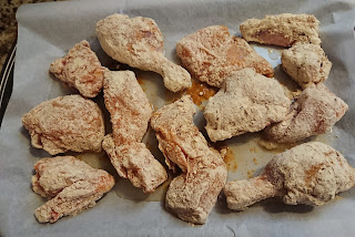 coated chicken ready for baking