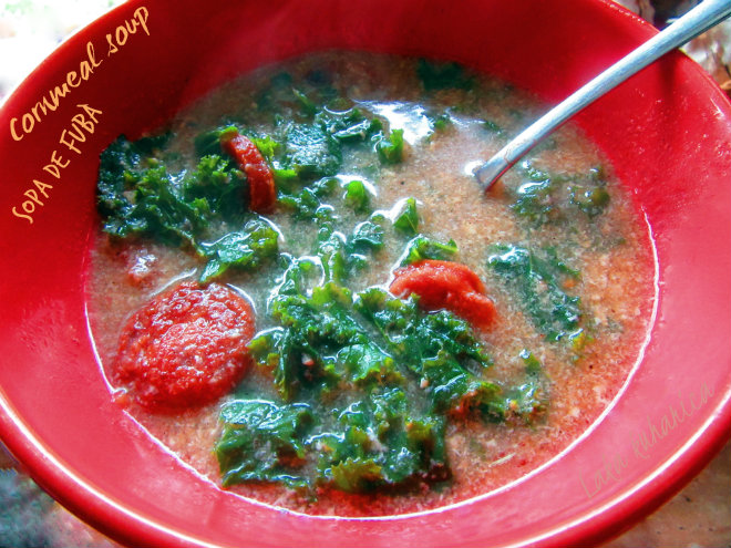 Cornmeal soup with collard greens and sausage by Laka kuharica: sopa de Fubá is a hearty and robust Brazilian soup.