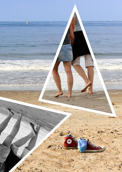 Strandspaziergang, beach walk, Collage mit Dreiecken