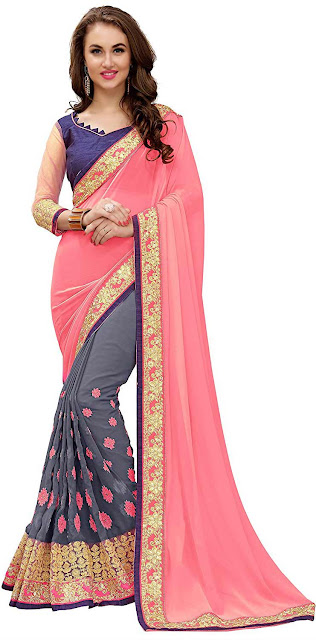 Koroshni Georgette Saree With Blouse Piece - Best selling georgette saree amazon below 1300