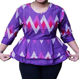 model baju batik atasan muslim untuk orang gemuk