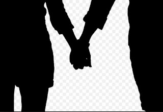A black and white artwork of two people holding hands.