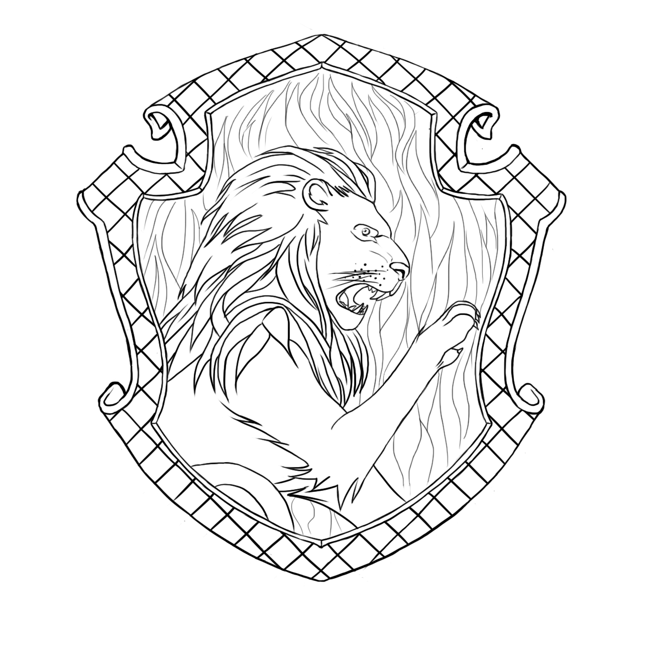 harry potter badge coloring pages | Gryffindor Badge Coloring Page Coloring Pages