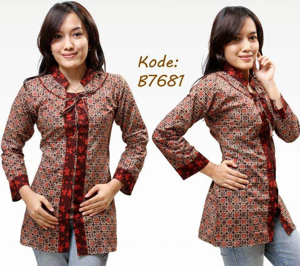 10 Model Baju Batik Kantor Kombinasi Polos Terkini  86b966f632