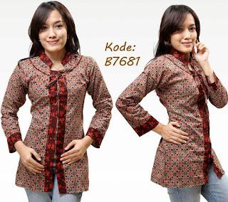 Model Baju Batik Kantor Kombinasi Kain Polos