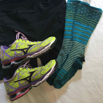 flat runner race day prep countdown compression socks running shoes