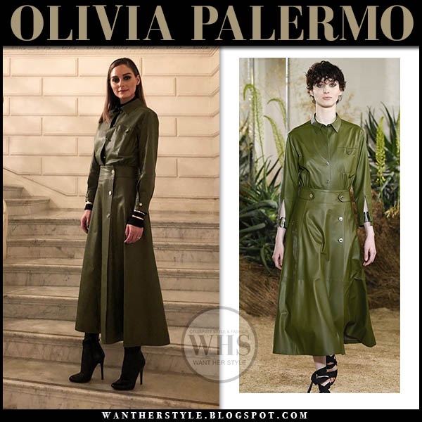 Olivia Palermo in green leather hermes shirt with green leather midi button hermes skirt celebrity fashion january 20