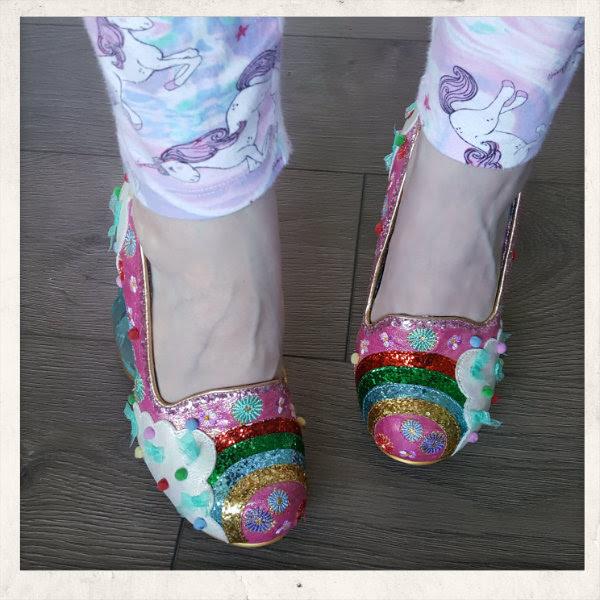 wearing irregular choice pink rainbow shoes