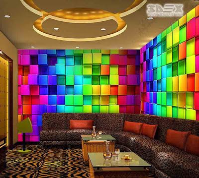 3D effect wallpaper designs for walls of living room