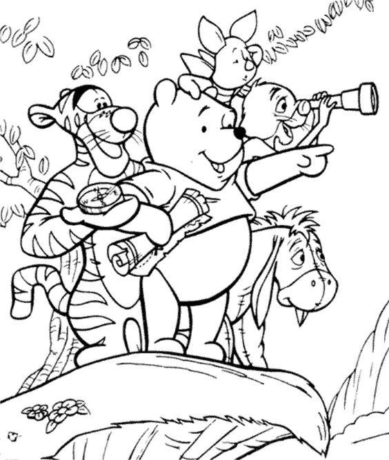Tranh cho bé tô màu gấu Pooh 34