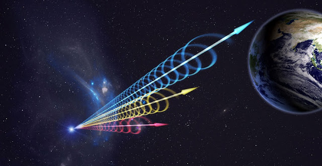 Artist impression of a Fast Radio Burst (FRB) reaching Earth. The colors represent the burst arriving at different radio wavelengths, with long wavelengths (red) arriving several seconds after short wavelengths (blue). This delay is called dispersion and occurs when radio waves travel through cosmic plasma. Jingchuan Yu, Beijing Planetarium / NRAO