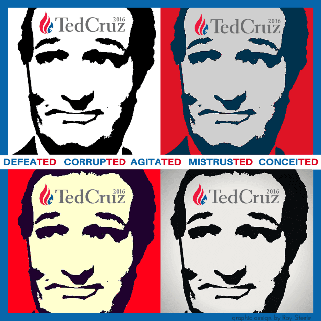 Four photos of Ted Cruz's face that are joined to form a square, and each photograph is colored differently to resemble a Warhol painting.