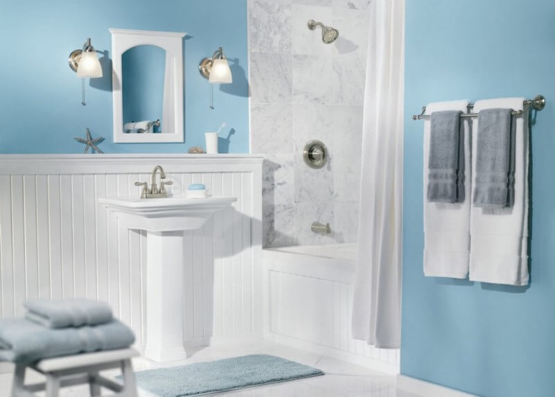 Refresh minimalist bathroom without remodeling by using for Bathroom ideas grey and blue