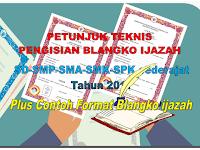 Juknis pengisian ijazah dan contoh format blangko Ijazah SD-SMP-SMA-SMK-SPK tahun 2017