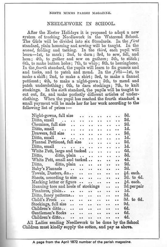 Photograph of a document showing the teaching of needlework in schools from the North Mimms Parish Magazine.
