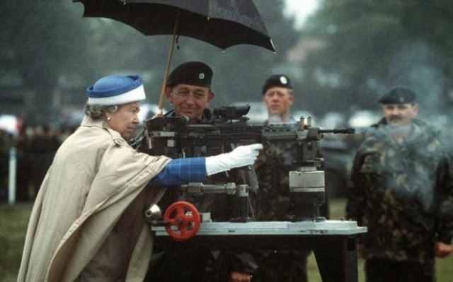 Queen Elizabeth defending the country