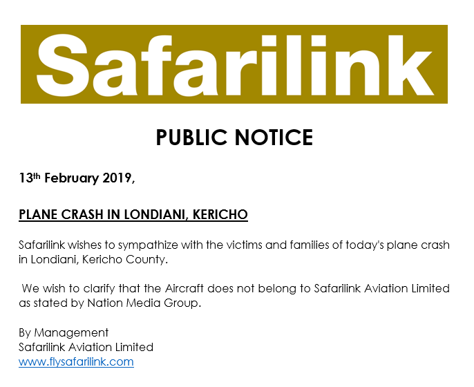 Safarilink: The Plane That Crashed In Londiani Is Not Ours