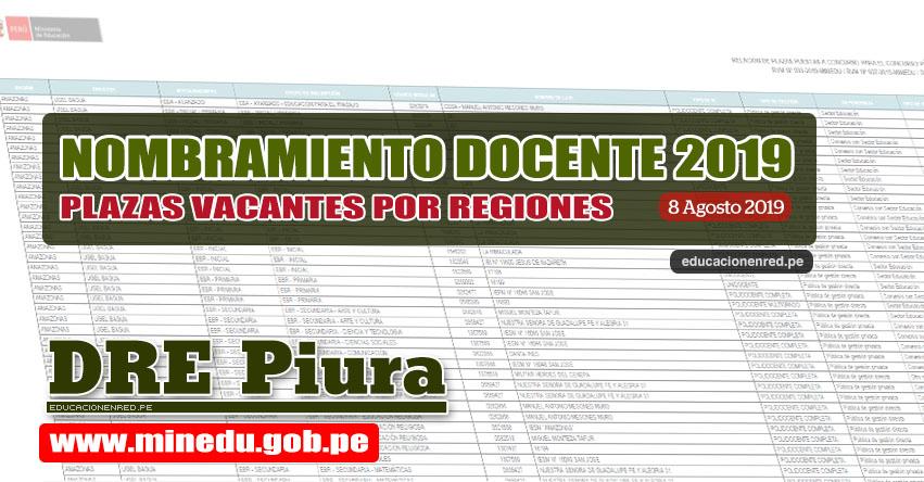 DRE Piura: Relación Final de Plazas Vacantes para Nombramiento Docente 2019 (.PDF ACTUALIZADO 8 AGOSTO) www.drep.gob.pe