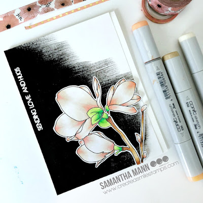 Magnolia Flower Card by Samantha Mann for Create a Smile Stamps, gesso, Flowers, Copics, Copic Markers, Just Because, Encouragement, Cards, Handmade Cards, #cards #createasmile #stamping #magnolia #flowers #copic #copiccoloring