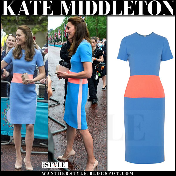 Kate Middleton in blue red stripe dress roksanda maywood what she wore