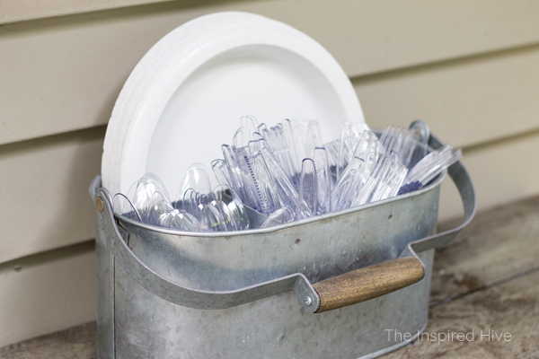 Entertaining tip! Keep a utensil caddy stocked and ready to go for last minute get togethers and parties.