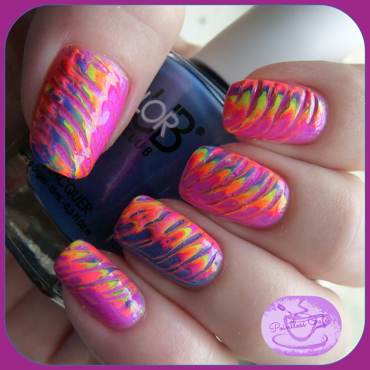 Simple Nail Art Using Toothpick: Color Club Poptastic Nail Art