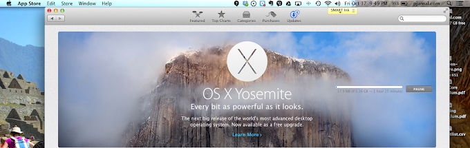OS X Yosemite Update in Progress