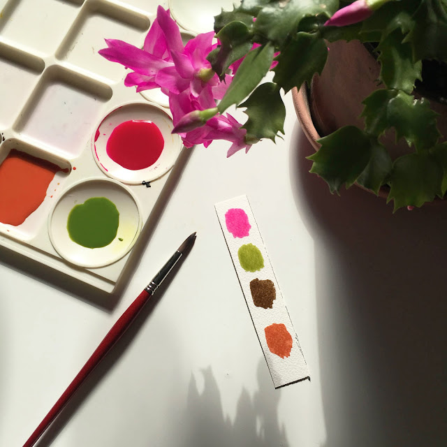 christmas cactus, zygo cactus, schlumbergia, watercolor, paint palette, paint mixing, paint swatches, process, Anne Butera, My Giant Strawberry