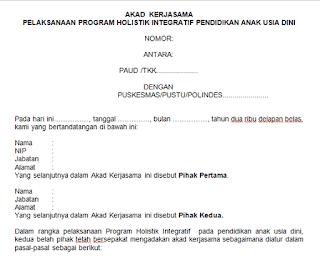 Geveducation:  Contoh Format Dokumen Kerja Sama Pihak Sekolah PAUD dengan Pihak PUSKESMAS