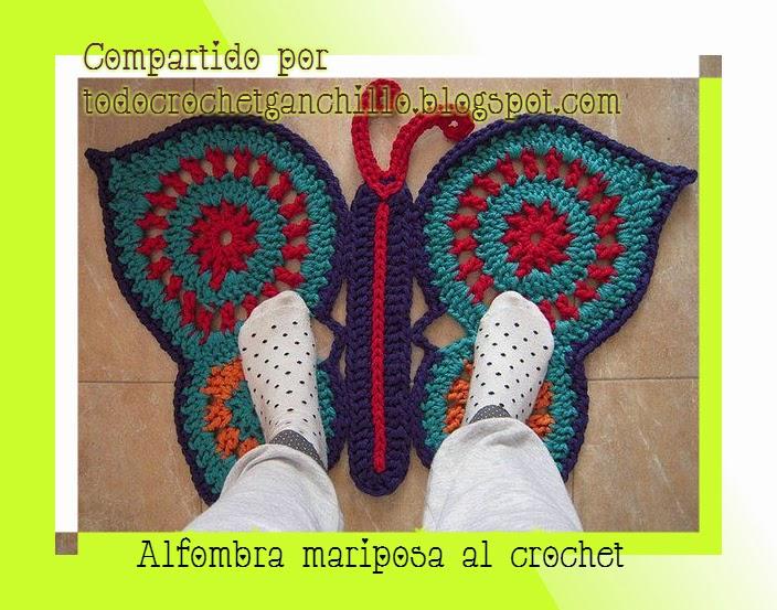 Alfombra mariposa al crochet