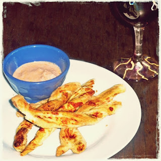 cheese straws with leftover soup dip!