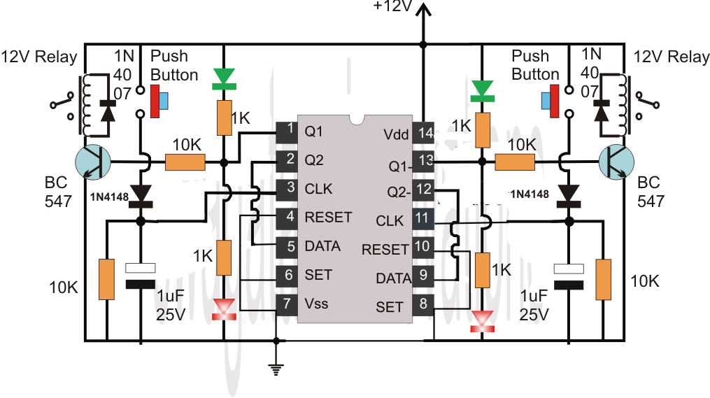 Make This Easiest Flip Flop Circuit on 5 pin relay schematic