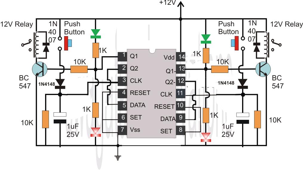 Flip Flop Circuit Using IC 4013