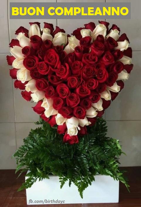 spesso Biglietto di auguri di compleanno Rose cuore CG73