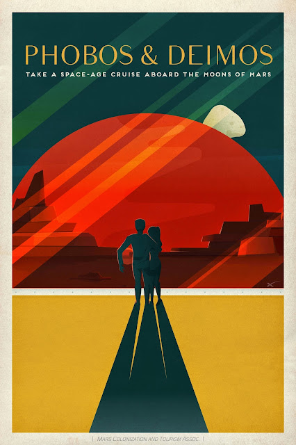 Mars Travel: SpaceX Mars Travel Poster - Phobos and Deimos