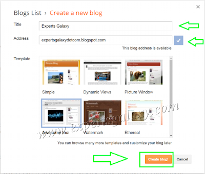 Create New Blogger Blog