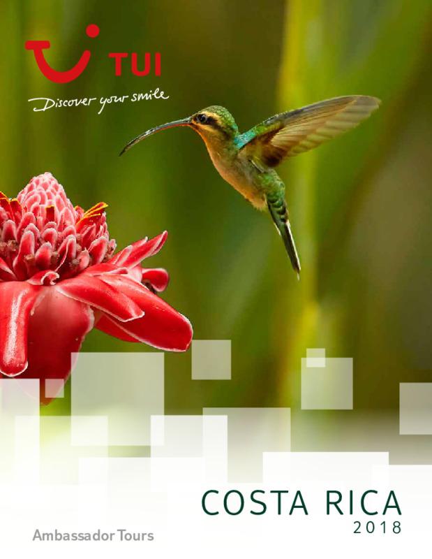 Catálogo TUI Ambassador Circuitos Costa Rica 2018-19