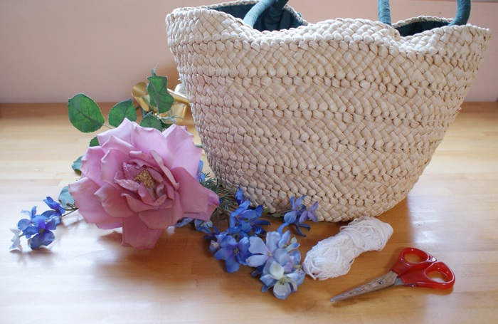 borsa paglia fiori faidate