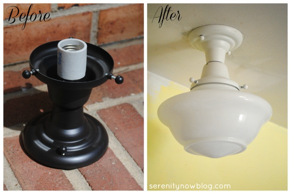 Kitchen Light Fixture Makeover with Spray Paint, from Serenity Now
