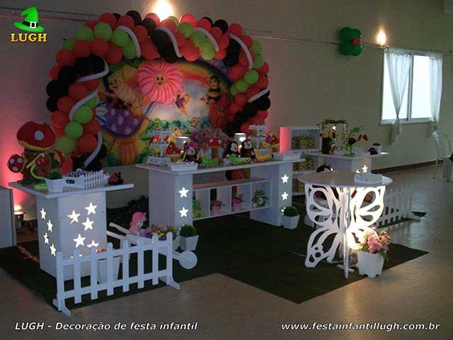 Decoração provençal infantil tema Jardim Encantado - Mesa de tema versão luxo