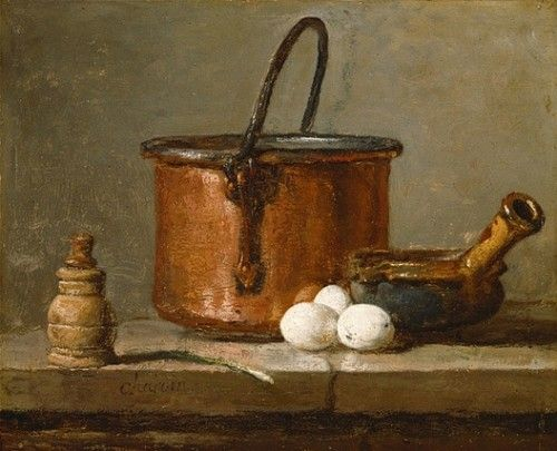 Magnificent still life painting with copper pot and eggs by Jean Baptiste Simeon Chardin