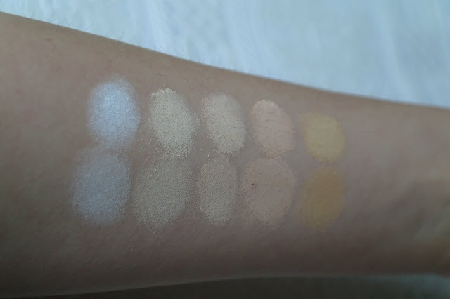 lucy minerals foundation eyeshadow swatches pale olive snow white bisque olive